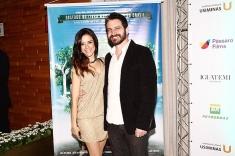 Kathia Calil e Caco Ciocler na pré estreia do filme em SP
